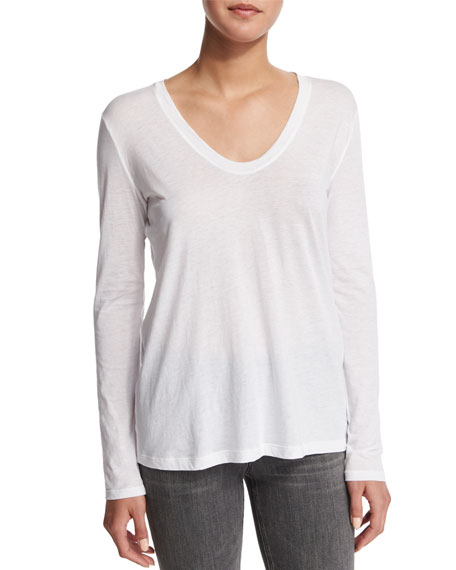 Helmut Lang Long-Sleeve Scoop-Neck Top, Optic White