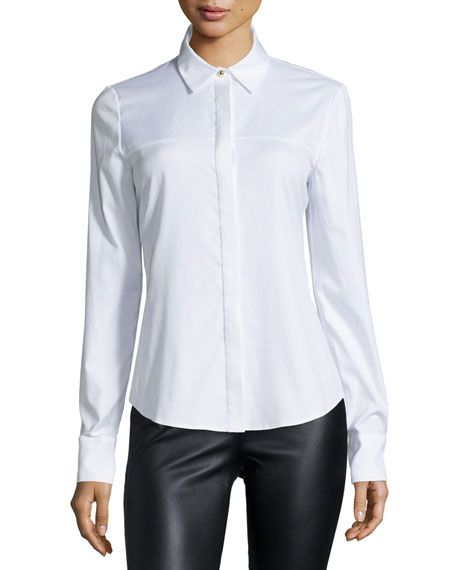 Prabal Gurung Long-Sleeve Button-Front Blouse, White