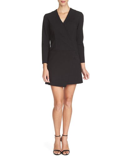 Long-Sleeve Faux-Wrap Dress