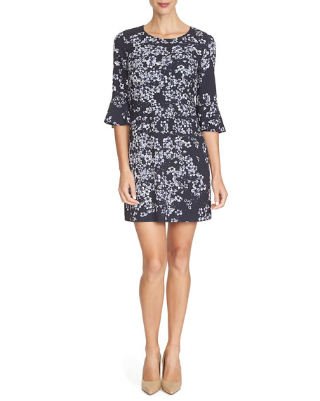Cynthia Steffe 3/4-Sleeve Floral-Print Dress