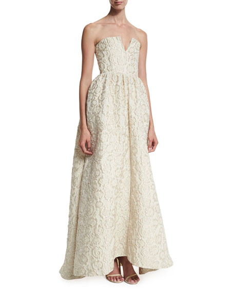 Alice + Olivia Axmis Strapless Floral Jacquard Gown