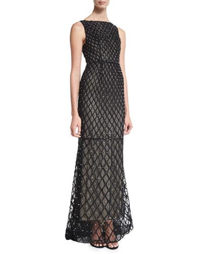 Jay Sleeveless Embellished Gown