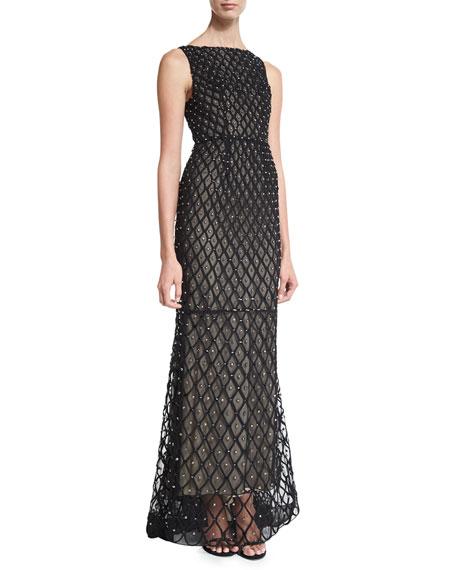 Alice + Olivia Jay Sleeveless Embellished Gown