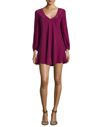 Juliana Long-Sleeve Mini Dress, Mulberry