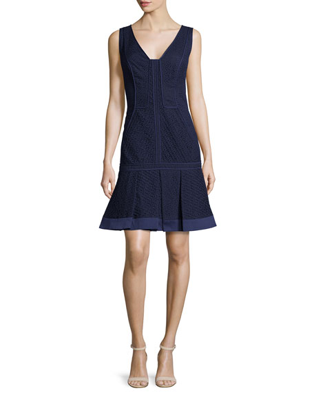 J. Mendel V-Neck Pleated-Hem Dress, Marine