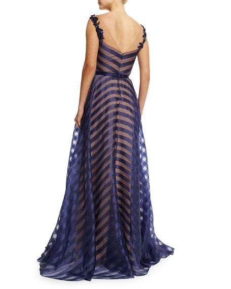 Belted Organza V-Neck Gown, Navy