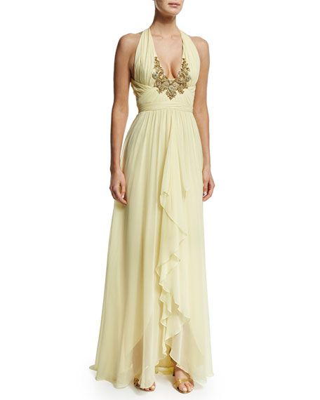Marchesa Embroidered V-Neck Halter Ruffed-Front Gown