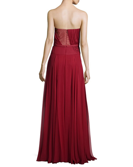 Lace-Embroidered A-Line Gown, Ruby