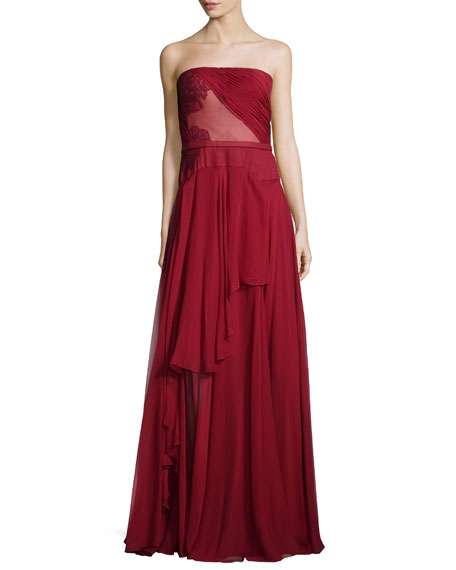 J. Mendel Lace-Embroidered A-Line Gown, Ruby