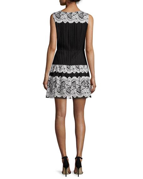 Floral-Lace Fit-&-Flare Dress, Black Multi