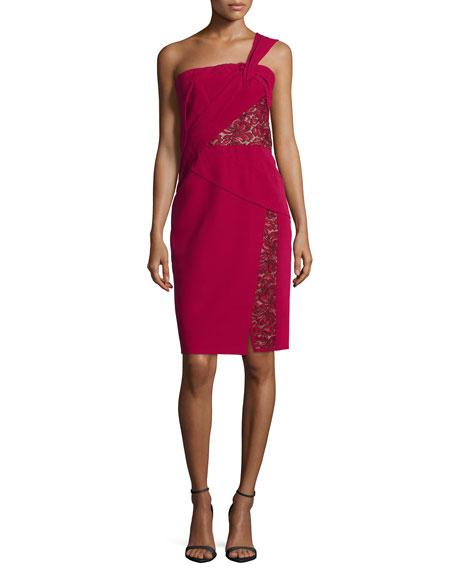 J. Mendel One-Shoulder Lace-Inset Dress, Ruby