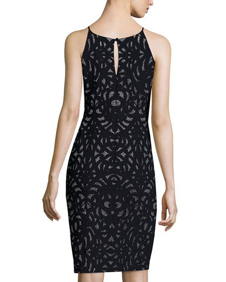 Sleeveless Laser-Cut Cocktail Dress