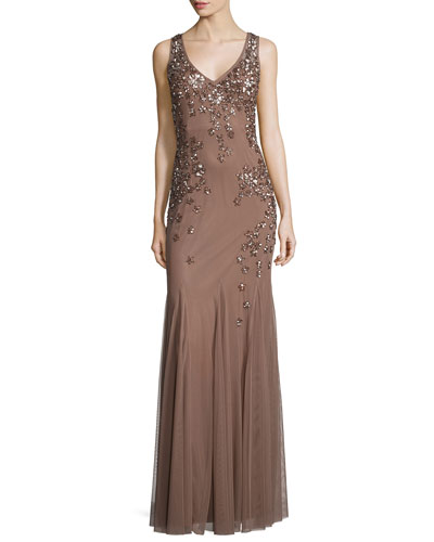 Sleeveless Beaded Godet Gown