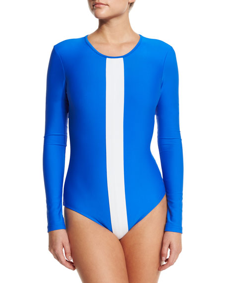 UPF 50 Long-Sleeve White Stripe One-Piece Swimsuit