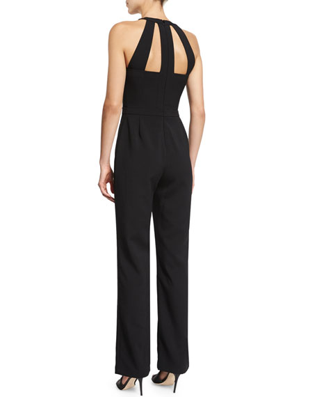 Marlin Straight-Leg Jumpsuit W/Cutouts, Black