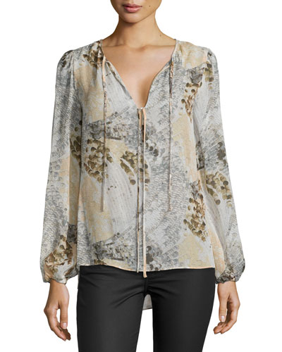 Evanna Printed Long-Sleeve Top, Powder Combo