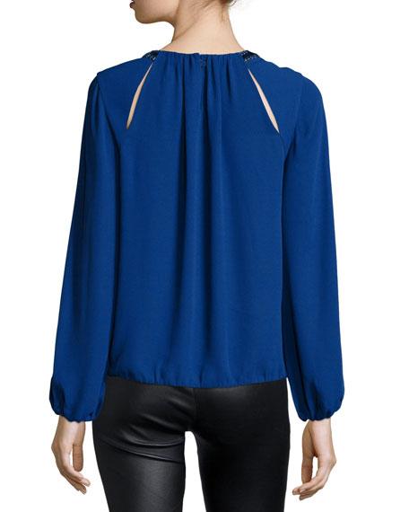 Kaelyn Embellished-Neck Blouse, Deep Royal Blue