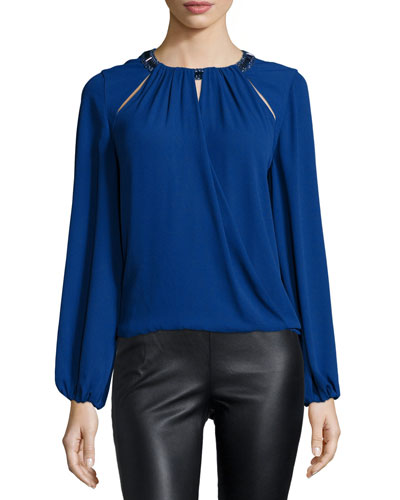 Kaelyn Embellished-Neck Blouse, Deep Royal Blue