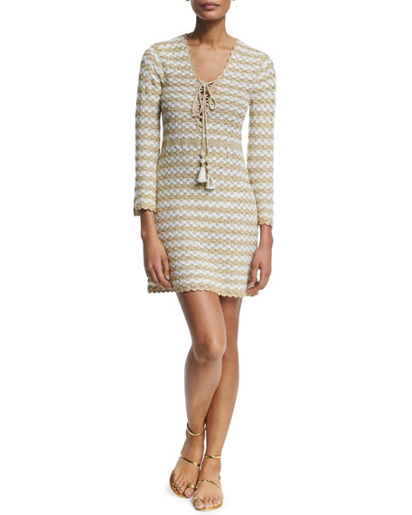 Calypso St. Barth Rigma Striped-Cashmere Sweaterdress, Ivory