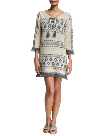 Calypso St. Barth Ranu Tribal-Print Cashmere Sweater Dress, Ivory