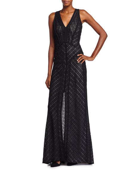 J. MendelPlunging Lace-Overlay Gown, Noir/Ivoire