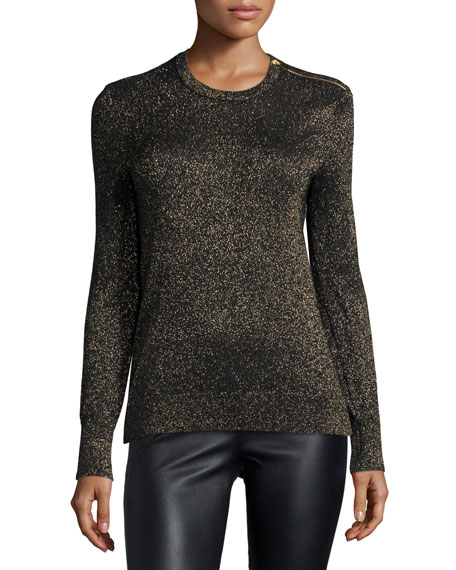 Equipment Ondine Jewel Neck Metallic Top Black Gold