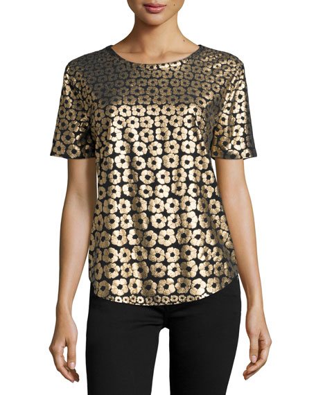 Equipment Riley Metallic Floral-Print Tee, True Black/Gold