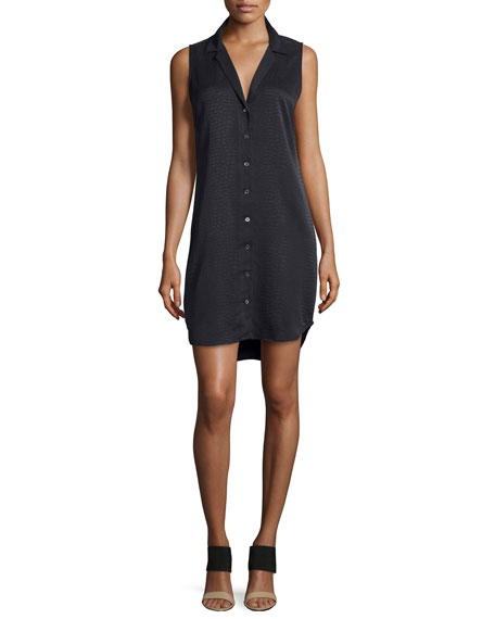 Equipment Adalyn Sleeveless Silk Shirtdress, Black