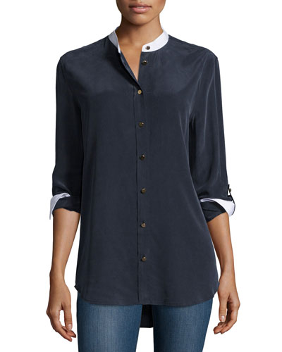 Reese Two-Tone Button-Front Blouse, Ink