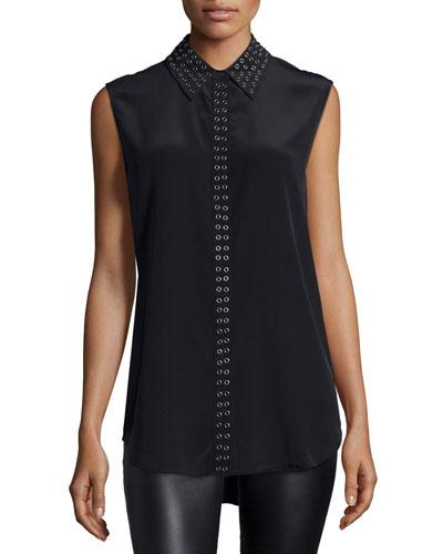 Reese Sleeveless Embellished Blouse, Black