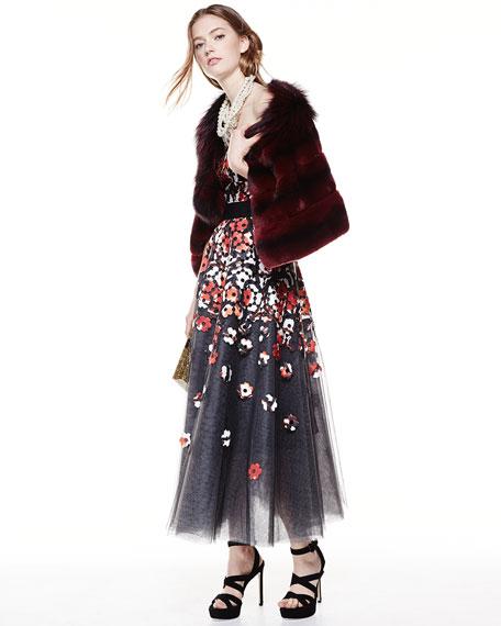 Sachin & Babi Strapless Poppy Lace Tea-Length Cocktail Dress