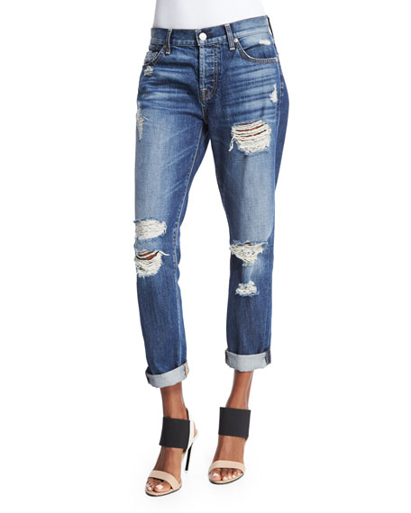 7 For All Mankind Josefina Relaxed-Fit Distressed Jeans, Rigid Sanded Blue
