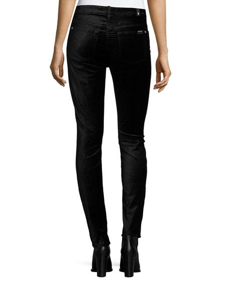 The High-Waist Velvet Skinny Jeans, Black