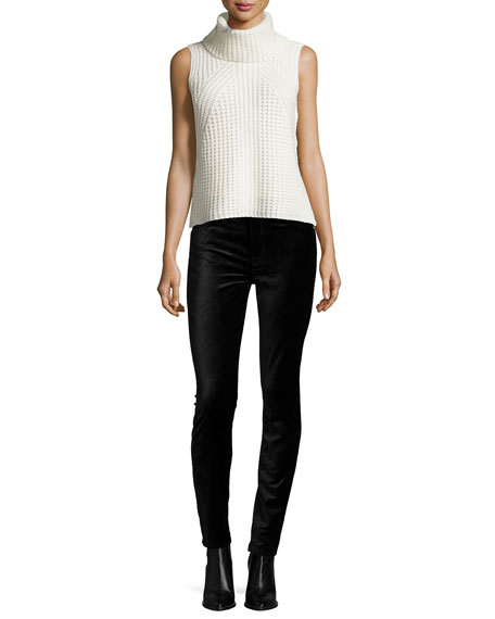 The High-Waist Velvet Skinny Jeans, Black