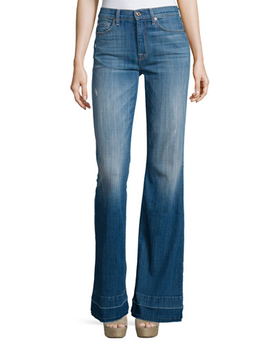 Ginger Flare-Leg Released-Hem Jeans, Bright Light