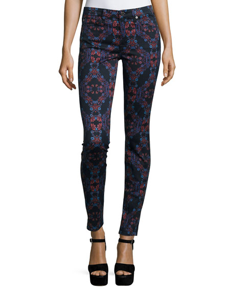 7 For All Mankind The Mid-Rise Kaleidoscope Skinny Jeans, Radiant Stained ...