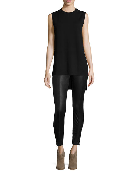 Mid-Rise Leather-Like Leggings, Black