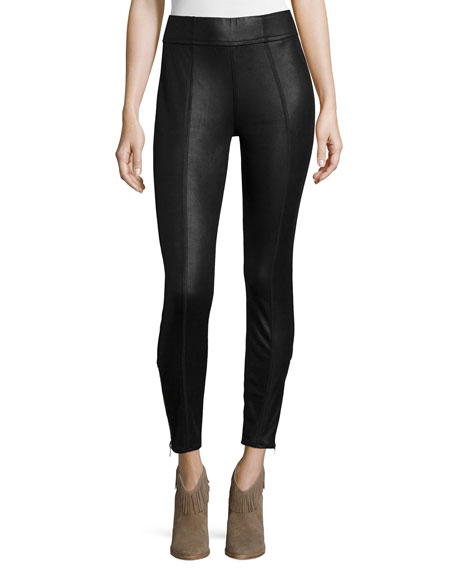 7 For All Mankind Mid-Rise Leather-Like Leggings, Black