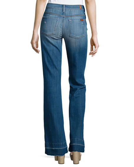 7 For All Mankind Tailorless Ginger Flare-Leg Released-Hem Jeans, Bright Light
