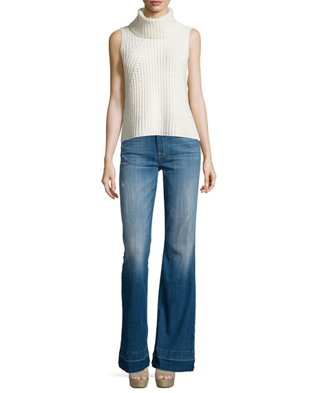 Tailorless Ginger Flare-Leg Released-Hem Jeans, Bright Light