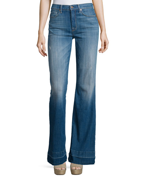 7 For All Mankind Tailorless Ginger Flare-Leg Released-Hem