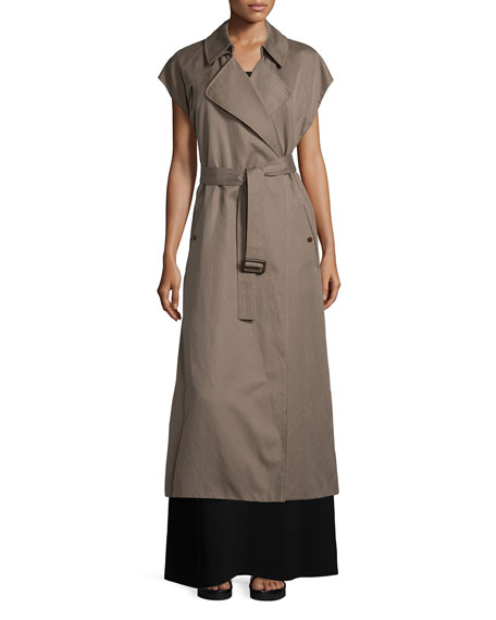 Helmut Lang Long Cotton-Blend Trench Vest, Army Green