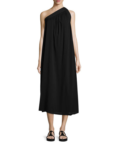 One-Shoulder Silk-Blend Trapeze Dress, Black