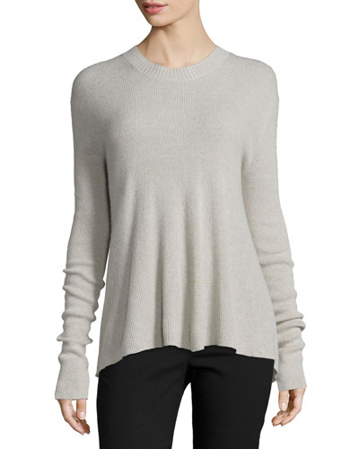 Slit-Back Cashmere-Blend Pullover Sweater, Haze