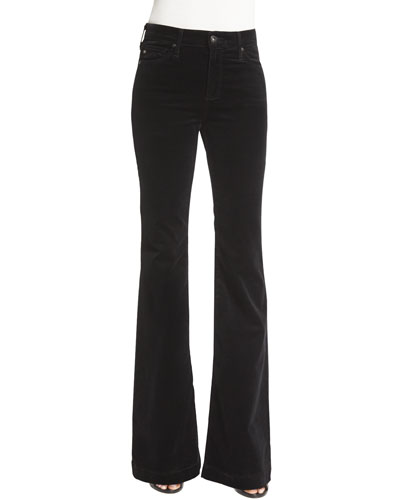 Janis High-Waist Flare Velvet Pants, Super Black