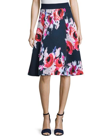 kate spade new york floral print a line midi skirt