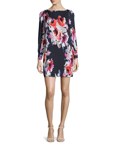 long-sleeve floral-print dress