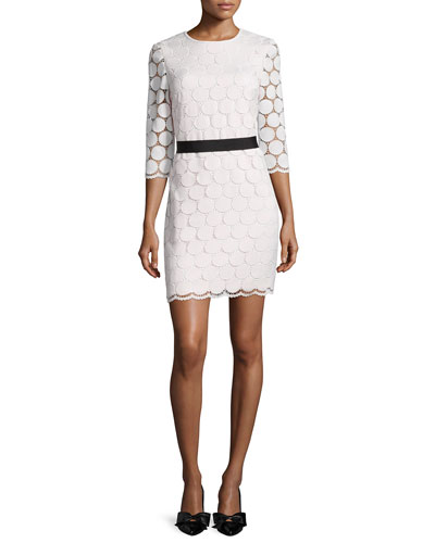 3/4-sleeve lace shift dress