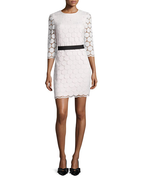 kate spade new york 3/4-sleeve lace shift dress