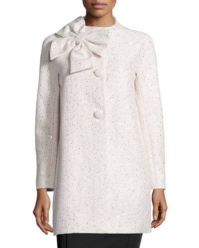 long-sleeve sequined tweed coat